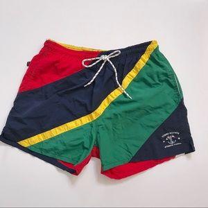 Vintage Tommy Hilfiger Logo Trunks Swim Shorts